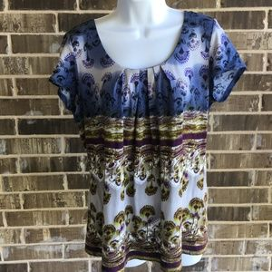 Axcess Blue Purple Flowers Cap Sleeve Blouse Large